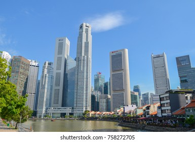 Singapore, April 2017: The Central Financial District of Singapore