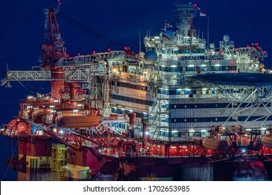 Singapore - April 2020: Floatel Triumph, a semi-submersible accommodation and construction support vessel is anchored at Singapore port.