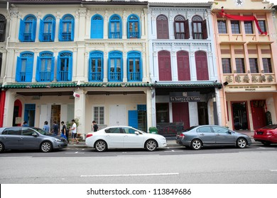 SINGAPORE- APRIL 21: Shop House at Mohamed Sultan Road on April 21, 2012 in Singapore. Shop House is a vernacular architectural building type that is commonly seen in historical part of Singapore.