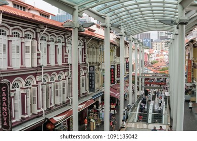 Singapore - April 23 2018: High angle view of the traiditional shophouses in  Singapore Chinatown in Southeast Asia.