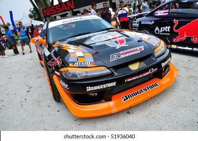 SINGAPORE - APRIL 24: Nissan Silvia drift car at Singapore Formula Drift at F1 Pit Building April 24, 2010 in Singapore