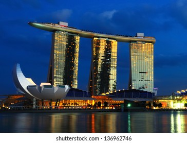 SINGAPORE - APRIL 26, 2013: The Marina Bay Sands' casino license has been renewed by another three years by the Casino Regulatory Authority effective April 26, 2013.