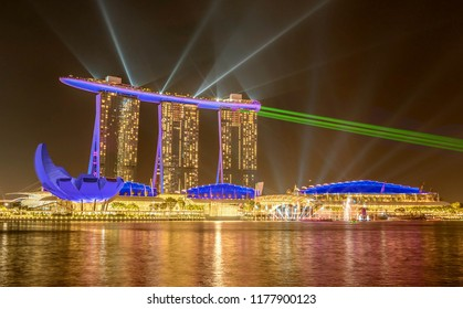 Singapore, Singapore- April 4, 2018: Marina Bay Sands Hotel at night, Singapore