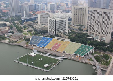 Singapore - April 7, 2013: Sky view of the Float at Marina Bay, the world's largest floating stage in Singapore on April 7, 2013. It is the venue for events, such as sports, concerts and exhibitions.