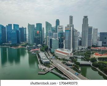 Singapore, Asia - 4 June 2019: Esplanade Drive bridge over to the financial district of Singapore
