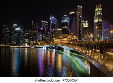 Singapore Asia October 28, 2017 Singapore skyline at night showing the Jubilee Bridge
