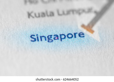 Singapore, Asia on a geographical map.