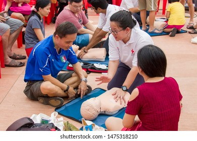 Singapore Aug 10th 2019: National Day Heartlands celebrations in Southwest of Singapore Jurong East area. People is learning RESTART A HEART program during the event.
