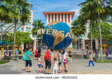 SINGAPORE - AUG 16, 2016: Universal Studios Singapore on August 16 in Singapore. Universal Studios theme park in Singapore is popular tourist attraction