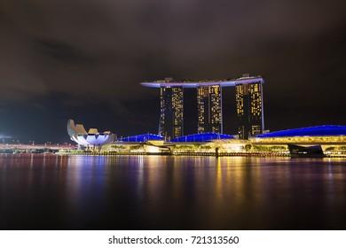 SINGAPORE - AUG 19, 2017: Night view at Marina Bay Sands Resort, Singapore