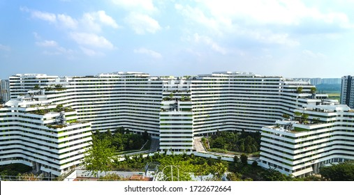 Singapore - Aug 19 2018 : The Punggol Waterway Terraces, a sustainable urban oasis residential building