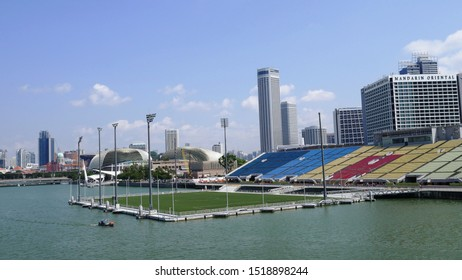 Singapore- Aug 2, 2019: The Floating Platform is located on waters of the Marina Reservoir in Marina Bay for hosting 2010 Summer Youth Olympics and National Day Parade 2020 and 2021 within the city.