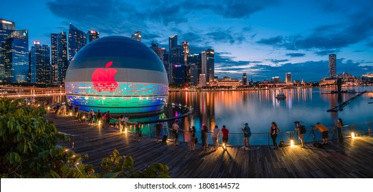 Singapore, Aug 2020: Picture of Newest Apple Store at Marina Bay Sands. First Apple Store in the world that floats on water. Scheduled to be opened very soon,