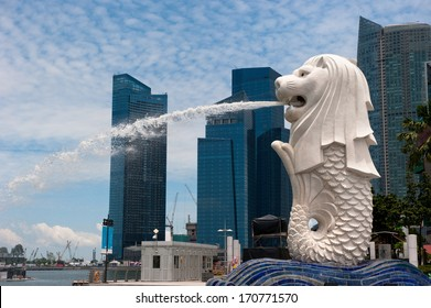 SINGAPORE - AUG, 22, 2010:  Merlion statue, landmark of Singapore. It's a mythical creature with the head of a lion and the body of a fish.