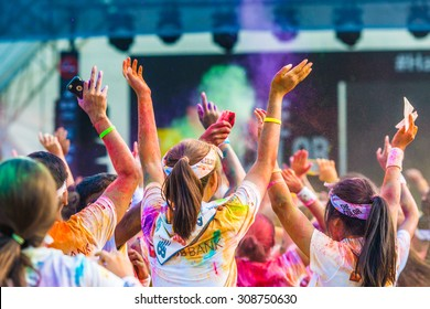 Singapore - Aug 22: Crowds of unidentified people at The Color Run on Aug 22, 2015 in Singapore.
