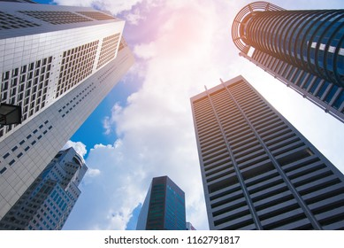 SINGAPORE - Aug 23 :View of skyscrapers in Marina Bay on Aug 23, 2017 in Singapore. Singapore is the world's fourth leading financial centre.