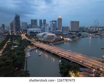 SINGAPORE - AUG 27 2018: Night scene  of Esplanade and Marina vicinity along Singapore River and Nicoll highway.
