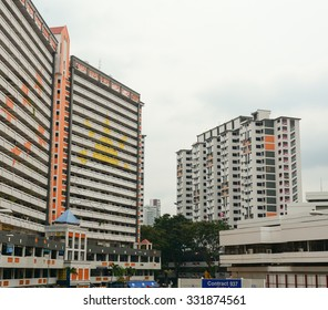 Singapore - Aug 30, 2015. Modern buildings in Chinatown of Singapore. Chinatown is an ethnic neighbourhood featuring distinctly Chinese cultural elements.