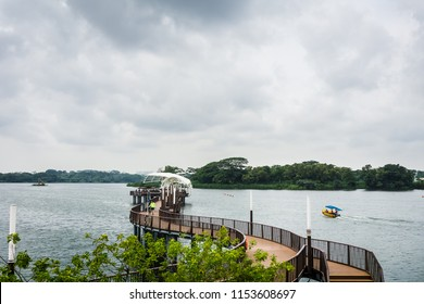 Singapore - Aug 4, 2018: Lower Seletar Reservoir is a reservoir located in the northeastern part of Singapore, to the east of Yishun New Town.