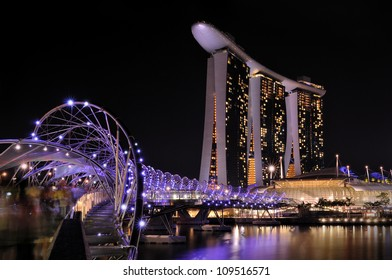 SINGAPORE- AUG 5:The Marina Bay Sands Resort Hotel & Helix Bridge(3.5km) on Aug 5, 2012 in Singapore. It is an integrated resort & the worlds most expensive standalone casino property at S$8 billion.