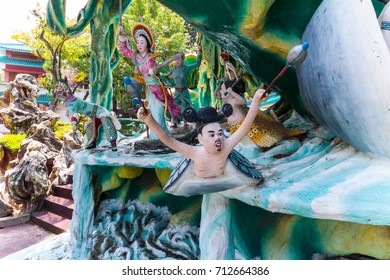 SINGAPORE - AUG.7,2016 : Haw Par Villa or Tiger Balm Garden is a park contains over 1,000 statues and 150 giant dioramas depicting scenes from Chinese mythology, folklore, legends, history, Singapore.
