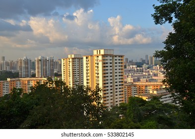 SINGAPORE - AUGUST 08, 2012: Singapore skyline from Mount Faber Park at dusk
