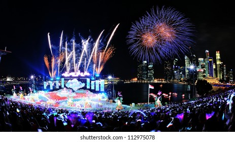SINGAPORE - AUGUST 09: Fireworks display and stage performance during National Day Parade 2012 on August 09, 2012 in Singapore