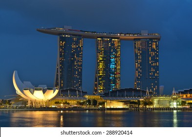 SINGAPORE- AUGUST 17: The Marina Bay Sands Resort Hotel on August 17, 2012 in Singapore. It is an integrated resort and the world's most expensive standalone casino property at S$8 billion.