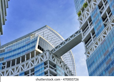 SINGAPORE - AUGUST 2, 2016: Day view of Fusionopolis. It is a research and development complex located at the one-north business park in Singapore. close to One North MRT Station on the Circle Line.