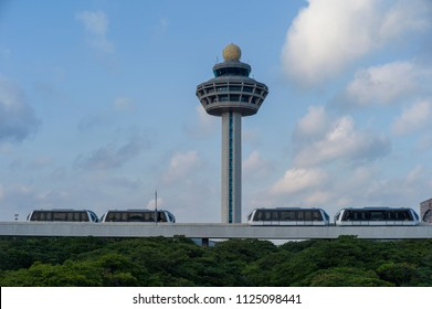 Singapore - August 20 2011: The control tower of Changi International Airport, which is ranked as the best airport in the world.