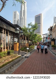 Singapore - August 20 2018: Boat Quay historical area. Boat Quay is a historical quay in Singapore which is situated upstream from the mouth of the Singapore River on its southern bank.