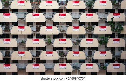 Singapore - August 2019: Full of the national flag of Singapore at HDB in Singapore to celebrate the National Day. The National Day of Singapore is celebrated every year on August 9.