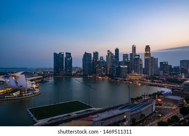 Singapore - August 2019:Singapore skyscrapers at magic hour. Singapore is an island city-state in Southeast Asia.