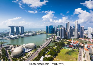 SINGAPORE - August 21, 2017:View from the infinity pool at Marina Bay Sands