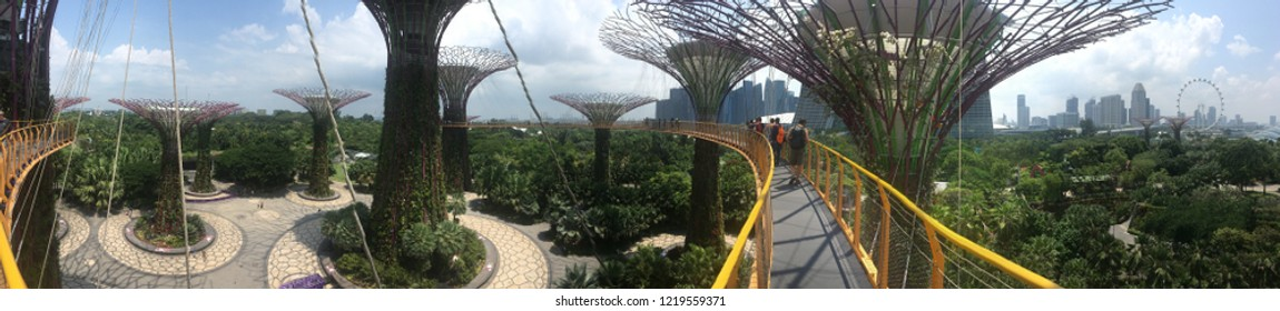 Singapore - August 21 2018: Panorama of the Supertree Grove scaffold bridge at Gardens by The Bay. Gardens by the Bay is a nature park spanning 101 hectares (250 acres) of reclaimed land in Singapore.