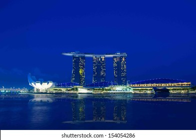 SINGAPORE - AUGUST 21: Marina Bay Sands Resort on August 21, 2013 in Singapore. It is billed as the world's most expensive standalone casino property