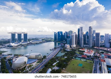 SINGAPORE - August 22, 2017:View from the infinity pool at Marina Bay Sands