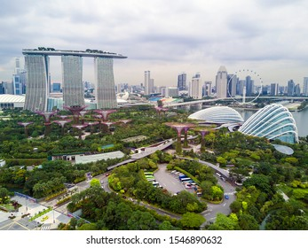 Singapore August 22 2019: Aerial landscape view of garden by the bay, supertrees, cloud forest and flower dome.
