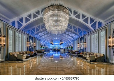 Singapore, Singapore - August 22 2019: The iconic entrance to the Clifford Pier restaurant at the Fullerton Bay Hotel, Singapore