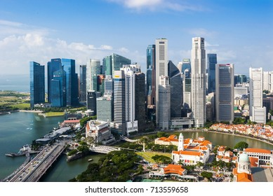 SINGAPORE - August 23, 2017:View from the infinity pool at Marina Bay Sands