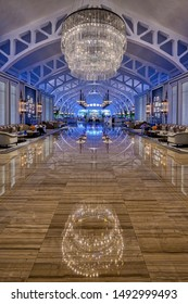 Singapore, Singapore - August 23 2019: The polished entrance floor leading to the Fullerton Bay Hotel's historic Clifford Pier restaurant