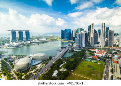 SINGAPORE - August 24, 2017:View from the infinity pool at Marina Bay Sands