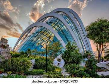 Singapore, Singapore - August 24 2019: The iconic architecture of the Cloud Forest dome conservatory at Gardens by the Bay Singapore