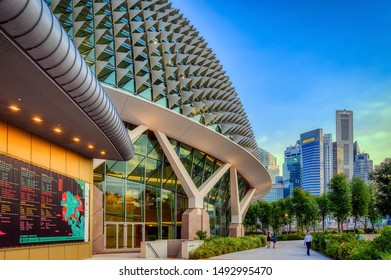 Singapore, Singapore - August 24 2019: The iconic architecture of the Esplanade, Theatres by the Bay, Singapore, commonly referred to as the Durian Building