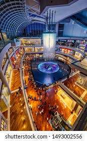 Singapore, Singapore - August 24 2019: The iconic architecture of Marina Bay Sands shopping mall with digital fountain