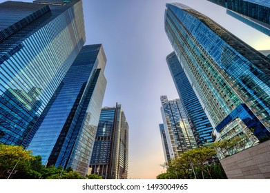 Singapore, Singapore - August 24 2019: Modern high rise towers of Singapore's Downtown urban renewal area