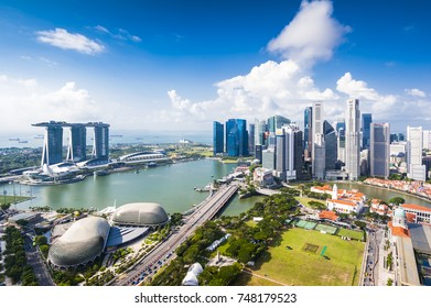 SINGAPORE - August 25, 2017:View from the infinity pool at Marina Bay Sands