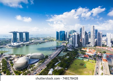 SINGAPORE - August 26, 2017:View from the infinity pool at Marina Bay Sands