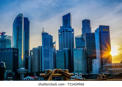 SINGAPORE- August 28, 2017 : Singapore city skyline of business district downtown in sunset.