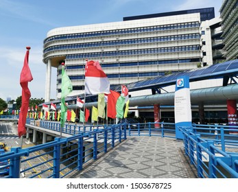 Singapore - AUGUST 3, 2019: Day time of Singapore flag along the road in public area. To celebration for 54th Singapore National Day.
